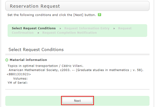 Select Request Conditions